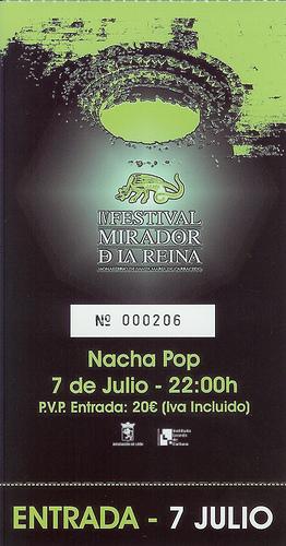 ENTRADA PARA EL CONCIERTO DE NACHA POP EN CARRACEDELO: