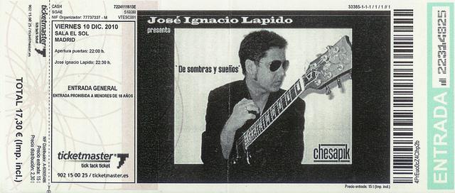 ENTRADA LAPIDO SALA SOL 2.010: